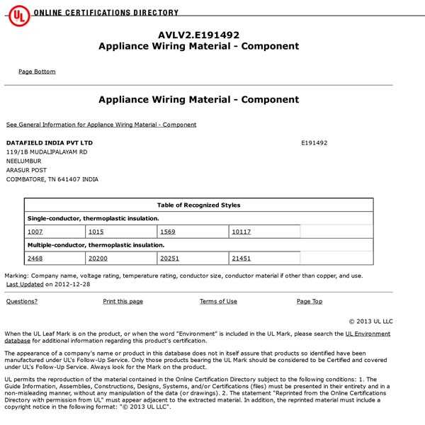 certificate for appliance wiring material ul datafield india rh datafieldindia com appliance wiring material standard appliance wiring material - component