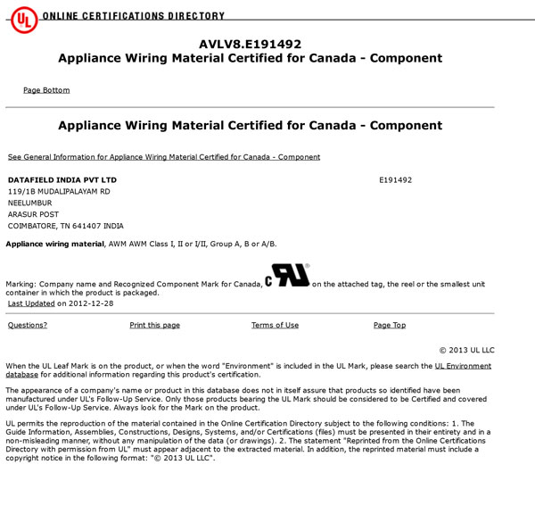 UL- Appliance Wiring Material Certified For Cannada